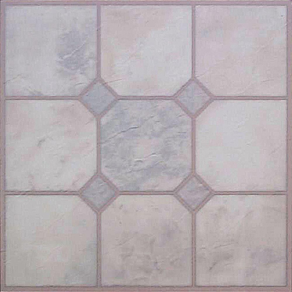 White self adhesive floor tiles