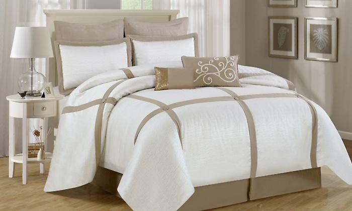 beige comforter set king Luxury Home 8 Piece Block Comforter Set   White/Neutral Beige  beige comforter set king