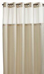 Hookless Herringbone Built-in Fabric Liner Fabric Shower Curtain
