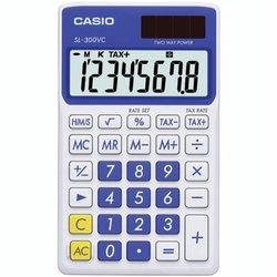 Casio Solar Wallet Calculator with 8-Digit Display Blue SL300VCBESIH