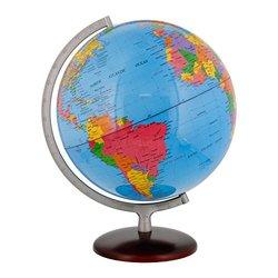 "TCP Global 12.6"" (32cm) Large Premium Blue Ocean Desktop World Globe Gold Base"