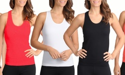 Maze Women's Ribbed Cotton Tank Top 12Pk - Assorted - Size: M