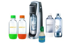 Fountain Jet Soda Maker w/ Exclusive Kit 4 Bottles & Mini CO2: Black