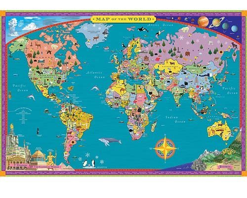 EeBoo World Map Kids Geography Educational Poster Art WRLDP - Geography map for kids