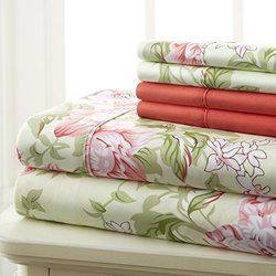 Spirit Linen 6 Piece BedSheet Set - Rose Floral - Size: Queen