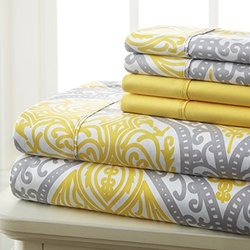 Spirit Linen Ave Printed Microfiber Sheet Set of 6pc - GreyYellow - Sz:Q