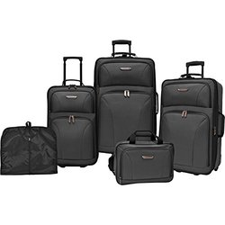 Traveler's Choice Versatile 5-Piece Luggage Set - Black