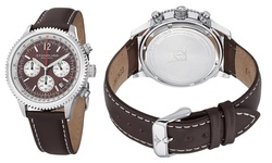 Stuhrling Original Men's Chronograph Leather Strap Watch - Brown/Silver