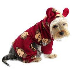 Klippo Silly Monkey Fleece Dog Bodysuit w/ Monkey Ears Hood - Burgundy - Size:S