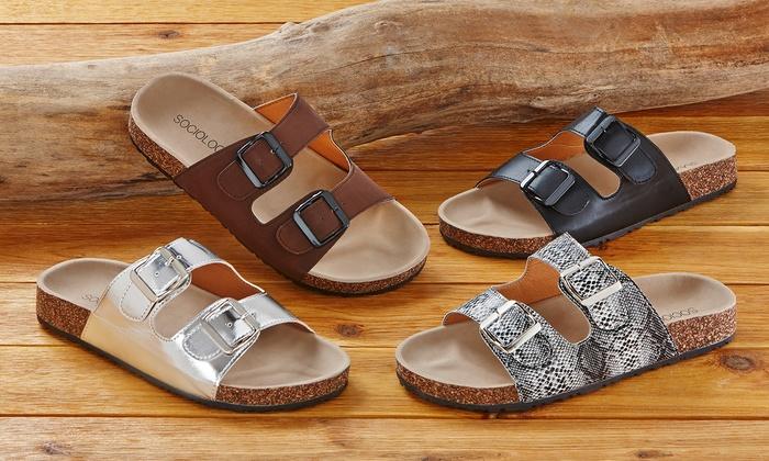 c07abaf4b4c Sociology Grenada Women s Footbed Sandals - Brown - Size  10 - Check ...