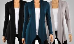 Ca Trading Women's Draped Hacci Cardigan 3 Pack - Black/Teal/Heather -Sz:S