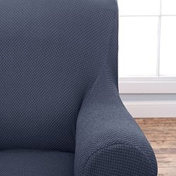 Home Fashions Form Fit Stretch Slip Cover - Grey - Size: Love Seat