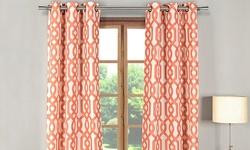 Geometric 80 X 84 Faux Silk Room Darkening Panel Pair With Grommets: Orange