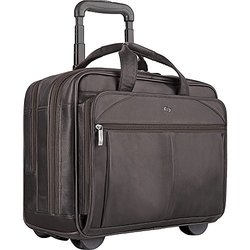 """Solo Executive Collection Espresso 15.6"""" Leather Rolling Case"""