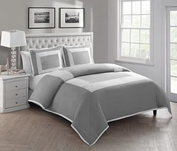 Victoria Classics 3 Piece Marion Duvet Set, Full/Queen, Gray