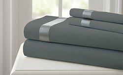Amrapur Overseas Fine Linens 400 TC Sheet Set - Charcoal/Silver -Size:Full