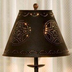 """Black Star Punched Tin 12"""" Lamp Shade"""