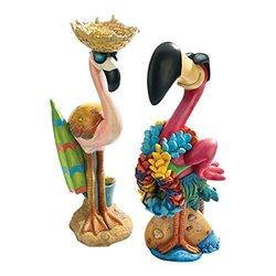 Design Toscano Pink Flamingo Garden Statues Luau Larry & Flamingo Frank