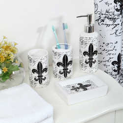 Indecor 18 Piece Fleur De Lis Bath Bundle Set