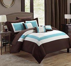 Chic Home 10-Piece Duke Comforter Set - Brown - Sz: Queen