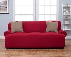 Home Fashion Designs Savannah Collection Form Fit Slipcover - Garnet