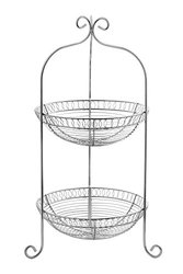 Blue Donuts Solid Iron 2-Tier Basket in Chrome Finish