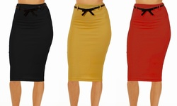 Dinamit Junior Ladies Belted Pencil Skirt - Grey - Size: Small