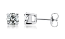 Princess Cut Diamond Studs - 1 CTTW - Sterling Silver