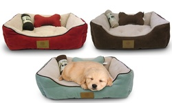 AKC Pet Bed Set with Pillow and Blanket - Brown