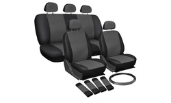 OxGord Deluxe Leatherette Full Seat Cover Set 17 Piece - Gray