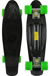 "Sun Boards 22"" Mini Skateboard Colorful - Black Deck with Green Wheels"