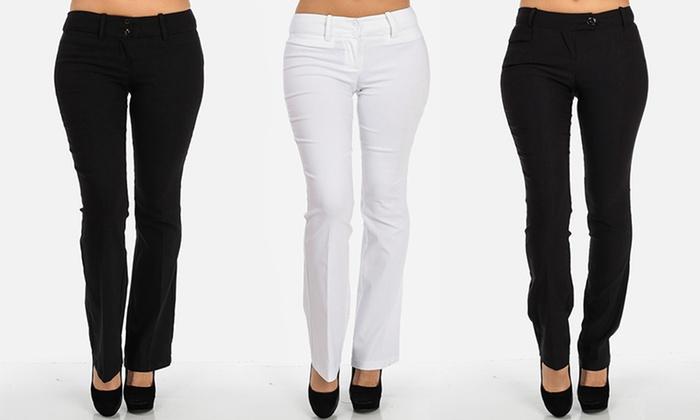 ModaXpress Women's Bootcut Stretch Dress Pants- Black -Sz: Small ...