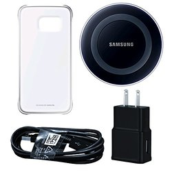 Wireless Charging Pad W/ Protective Cover: Clear/Slver Bundle for Galaxy S6