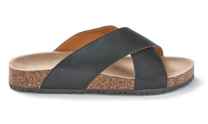 bcda139bb19a ... Sociology Women s Crisscross Footbed Sandals - Black Smooth - Size  ...