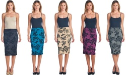 Women's Pencil Skirt With Floral Flocking: Black/small
