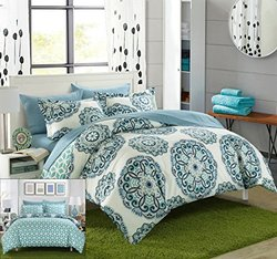 Chic Home 3 Pc Ibiza Printed Medallion Reversible Duvet Set -Green-Sz: F/Q