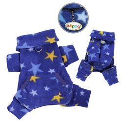 Cozy Midnight Stars Fleece Turtleneck Dog Pajamas / Bodysuit Size: X-Small