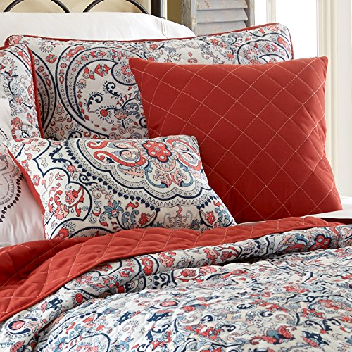 Delightful ... Amrapur Overseas 6pc Quilted Coverlet Set   Rust Red/White   Size:  Queen ...