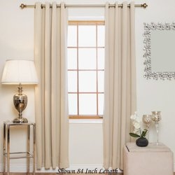 Blackout Antique Brass Grommet Top Thermal Insulated Curtain - Beige
