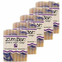 Indigo Wild Zum Bar Goat's Milk Soap - Pk of 5 -Frankincense-Lavender-3 Oz