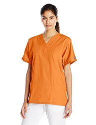 Cherokee Women's V-Neck Scrub Top - Orange Sorbet - Size: Small
