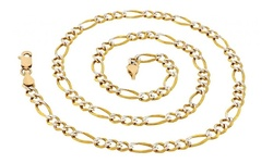 Sevil 14K Gold Italian Diamond-Cut Figaro Chain