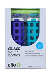 Ello Safe Clean Glass Water Bottles 20oz (2 pk) - Leak Proof with Easy Grip, Purple & Teal
