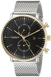Akribos XXIV Men's Multifunction Bracelet Watch - Black Dial (AKGP685SSG)