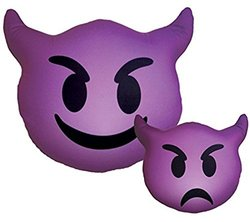iscream Emoticons Double-Sided Devil Microbead Pillow - Purple