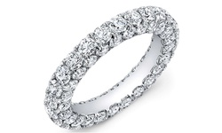 Sevil 18K White Gold & Italian-Cut CZ 3 Row Eternity Ring - Sz: 9