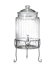 Del Sol Clear Ribbed 1.5 Gallon Glass Beverage Dispenser With Stand