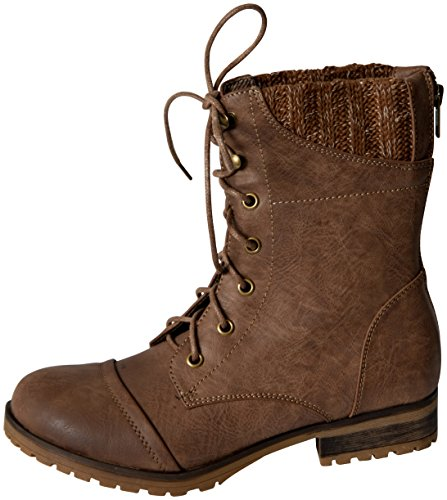 Refresh Womens Wynne 06 Sweater Cuff Lace Up Combat Boots Taupe 9 B