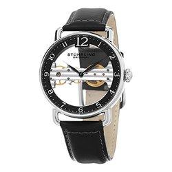 Stuhrling Original Men's 42mm Mechanical Skeletonized Bridge Watch - Black 559905