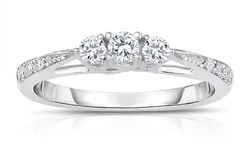 1/4cttw Certified Diamond Three Stone Ring in 10K White Gold - Size: 7